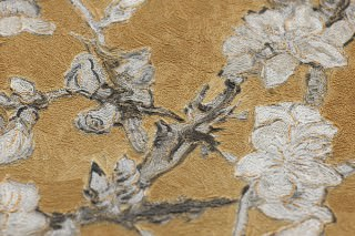 Wallpaper VanGogh Blossom Matt Branches with leaves and blossoms Ochre yellow Anthracite Cream Grey