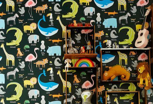 Papier peint My favorite Animals noir Vue pièce