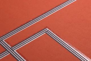 Carta da parati Salvador Disegno brillante Superficie di base opaca Elementi grafici Marrone rame Marrone ramato brillante Nero  Argento brillante