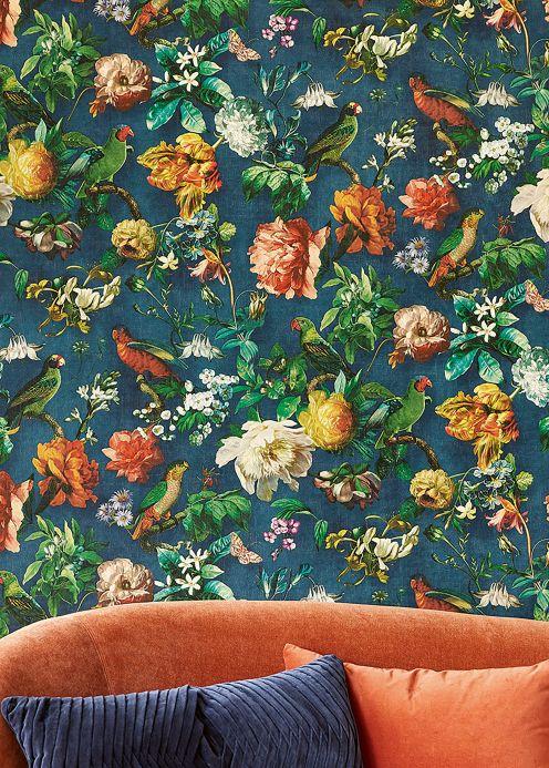 Botanische Tapeten Tapete Margarete Grünblau Raumansicht