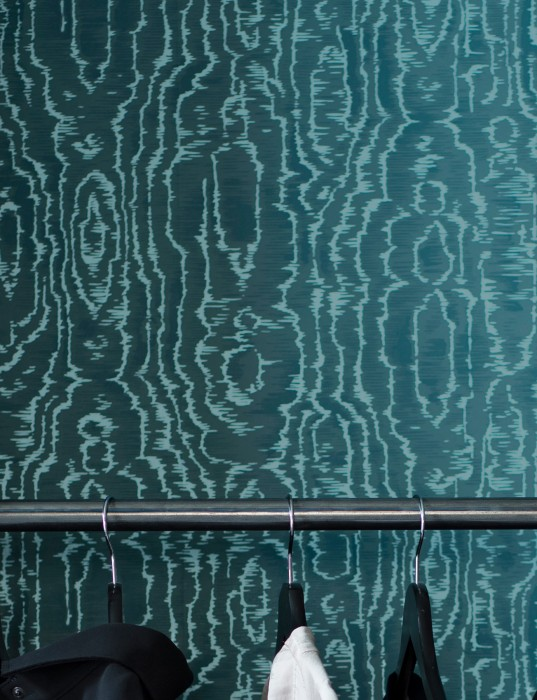 Wallpaper Adomako Shimmering pattern Matt base surface Moiré Effect Mint grey Ocean blue Pastel turquoise shimmer
