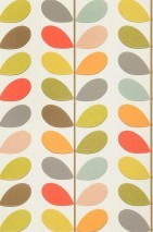 Wallpaper Osiris Matt Stylised leaves Cream Yellow green Grey Grey brown Daffodil yellow Red