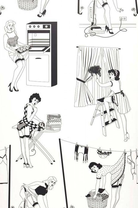 Wallpaper 50's Housewives Matt Vintage housewives White Black