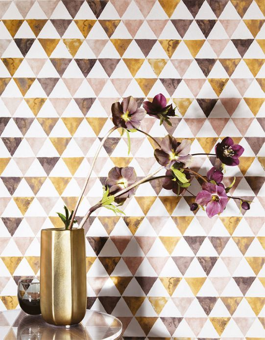 Geometric Wallpaper Wallpaper Masell brown Room View