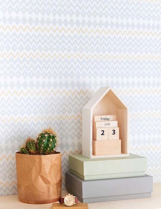 Carta da parati Tomoko Effetto stampato a mano Opaco Zigzag Bianco crema Giallastro chiaro Grigio chiaro