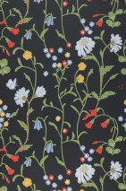Wallpaper Eilis Hand printed look Matt Flowers Butterflies Anthracite Light blue Light yellow Light green Orient red White