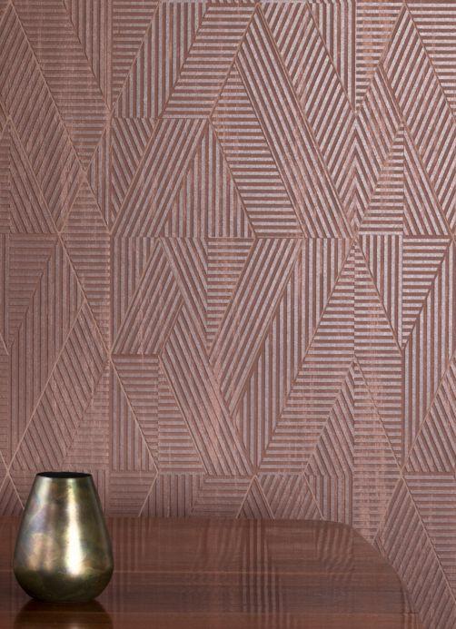 Papel pintado geométrico Papel pintado Robin marrón Ver habitación