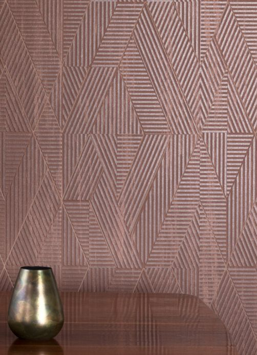 Geometric Wallpaper Wallpaper Robin brown Room View