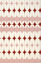 Wallpaper Yukina Matt Graphic elements Retro design Rosewood Cream Red brown