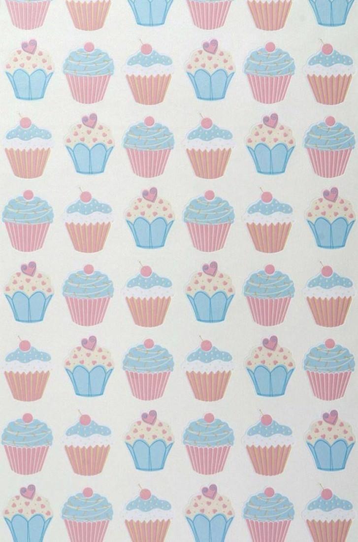 Papel pintado cupcake blanco crema azul claro rosa for Papel pintado romantico