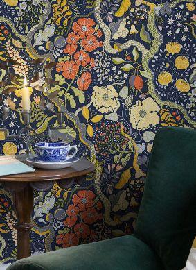 Papel de parede Rosanna azul escuro Raumansicht