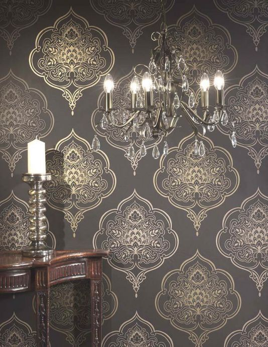 Archiv Wallpaper Maharani grey beige Room View