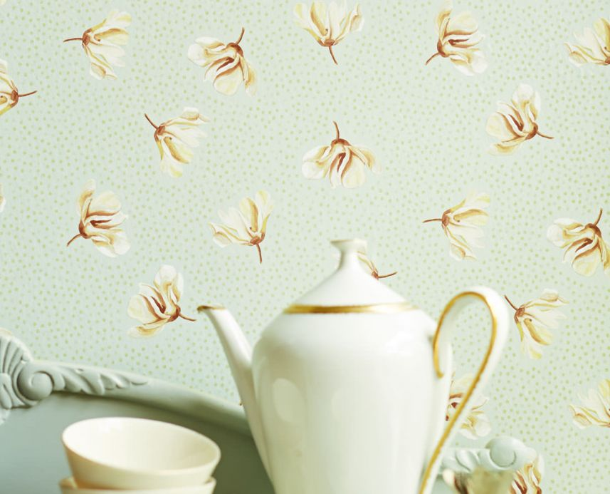 Floral Wallpaper Wallpaper Arletta pastel green Room View