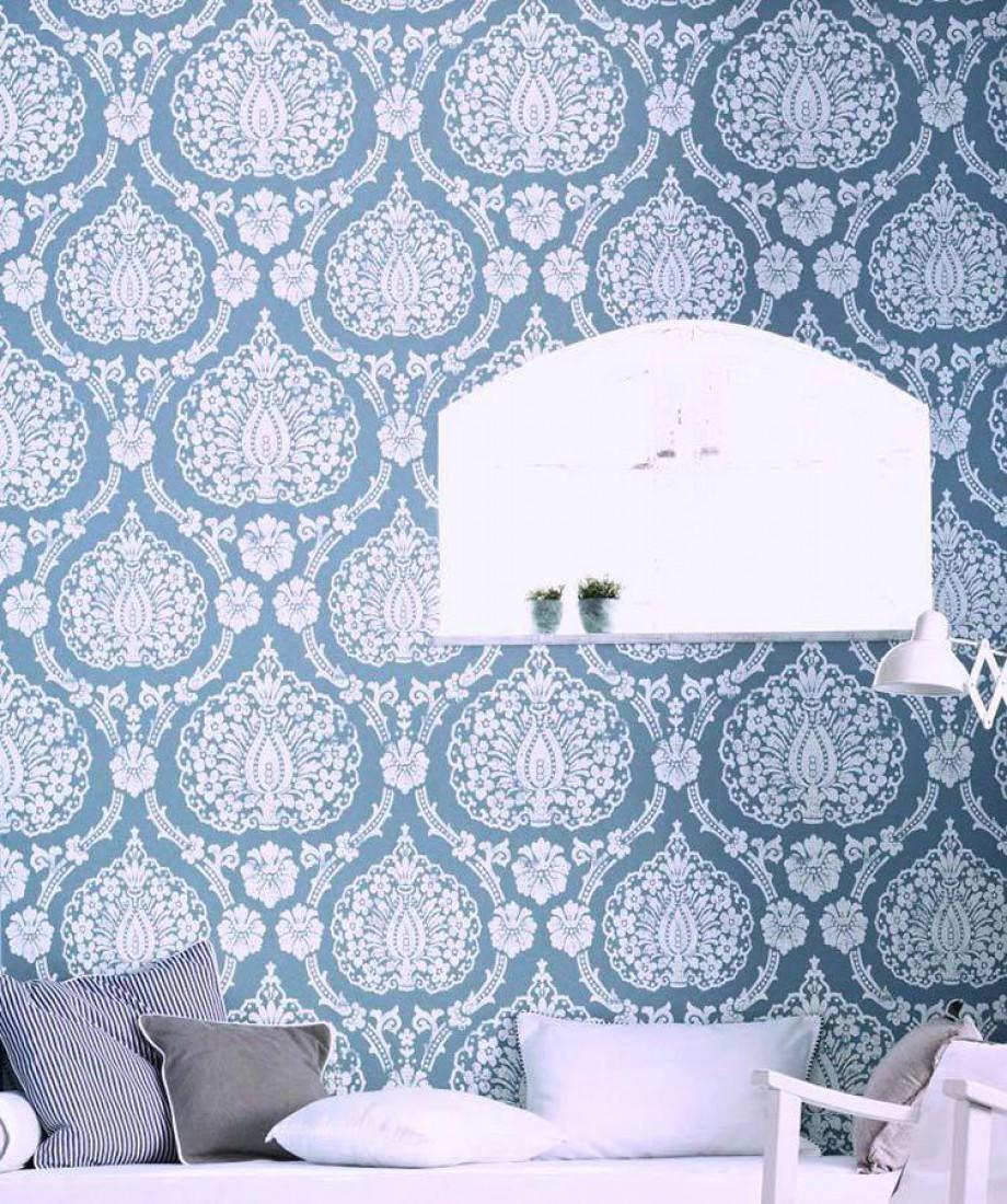 Papel pintado fidelia azul blanco papeles de los 70 - Papeles pintados de los 70 ...