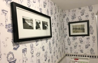 Wallpaper Toilet Heaven Matt Vintage Toilets White Sapphire blue