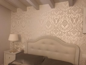 Wallpaper Sennin Shimmering base surface Baroque damask Mother of pearl shimmer Cream