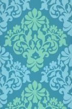Wallpaper Parvati Fine linen look Matt Floral damask Turquoise blue Pale Yellow green Light blue