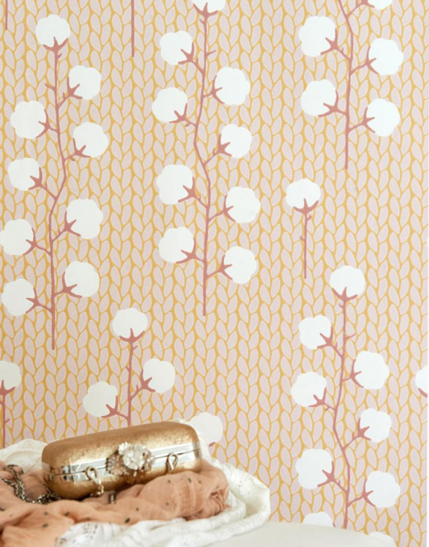 Wallpaper Sweet Cotton Honey Yellow Pale Pink Brown Red Cream - Brown and cream wallpaper