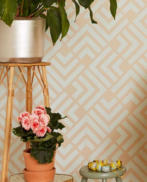 Geometric Wallpaper Wallpaper Levitus light brown beige Room View