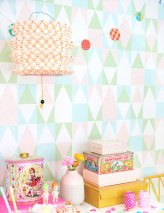 Wallpaper Alice Hand printed look Matt Geometrical elements Pale green Cream Light pastel turquoise Pastel rose