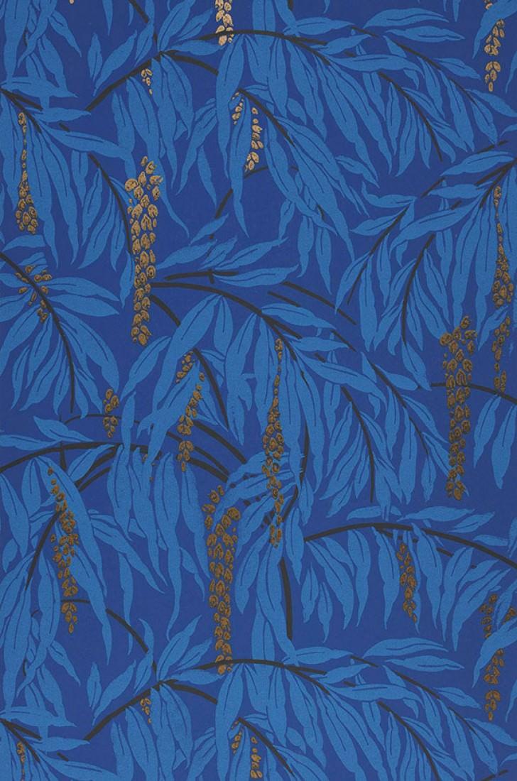 Papel pintado maringa azul violeta azul claro oro perla for Papel pintado de los 70