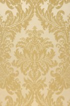 Papel pintado Odilia Patrón mate Superficie base brillante Damasco barroco Beige Amarillo arena