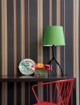 Wallpaper Hudson Hand printed look Matt Stripes Black grey Light grey Pea green Orange Red