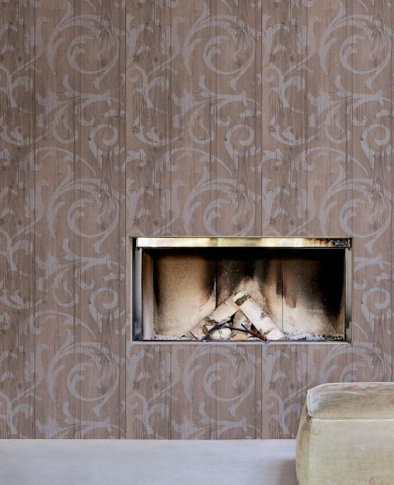 Wallpaper Medusa Wood Matt Old wooden boards Baroque damask Pale blue Pale grey brown Grey brown Pigeon blue