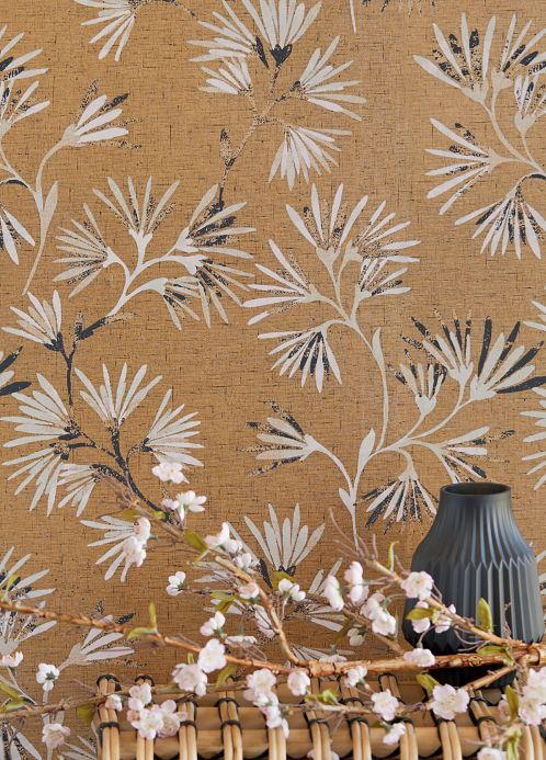 Oriental Wallpaper Wallpaper Oana brown beige shimmer Room View