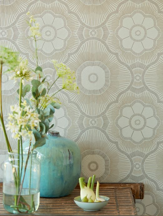 Glass bead Wallpaper Wallpaper Riverana pale green shimmer Room View
