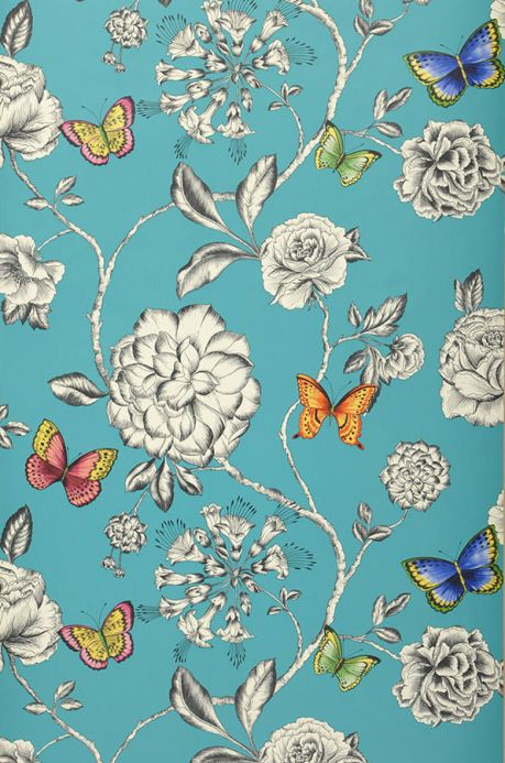 Archiv Wallpaper Cordula turquoise blue Roll Width