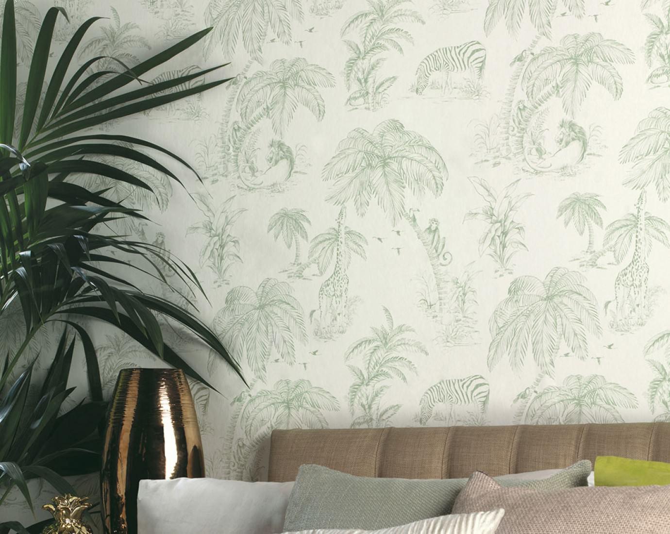 urati cremeweiss farngr n ausgefallene tapeten. Black Bedroom Furniture Sets. Home Design Ideas
