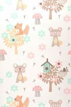 Papel pintado Pepko Brillante Árboles Flores Animales Pajareras Blanco crema Marrón pálido Beige grisáceo Rosa claro Marrón anaranjado Verde pastel