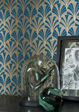 Papel pintado Obidos azul oscuro Raumansicht