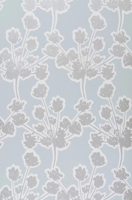 Wallpaper Junit Matt Blossoms Pastel turquoise Cream Silver