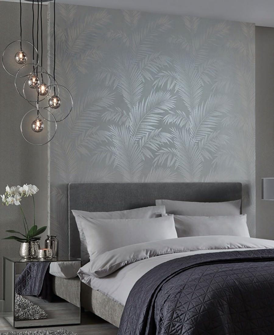 Papel pintado aria blanco gris ceo marfil claro plata for Papel habitacion matrimonio