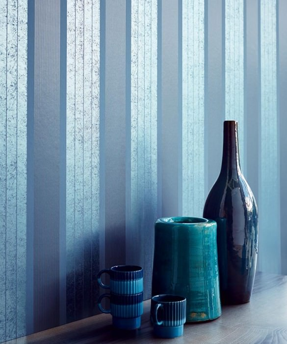 Wallpaper Arolata Shimmering pattern Matt base surface Stripes Pigeon blue Anthracite Silver blue