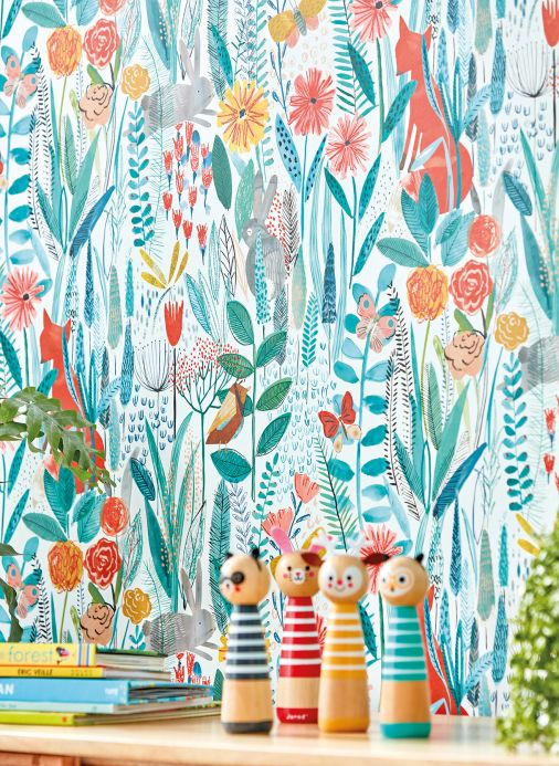 Children's Wallpaper Wallpaper Margo mint turquoise Room View