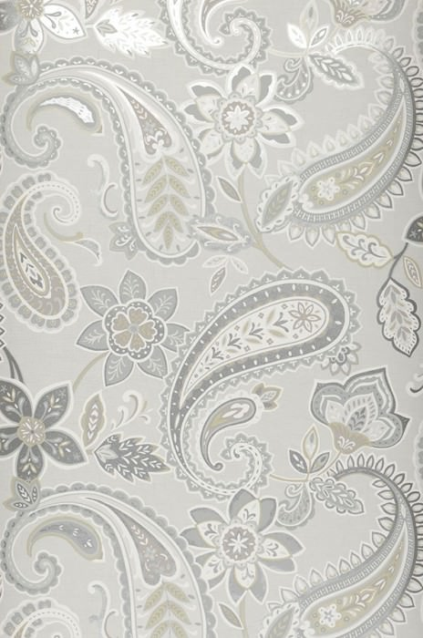 Wallpaper Delba Matt Floral Elements Paisley pattern Grey white Olive grey shimmer Silver shimmer Silver grey White