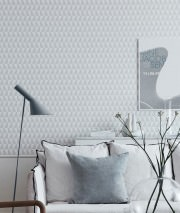 Wallpaper Balder Matt Graphic trapezium White Light grey