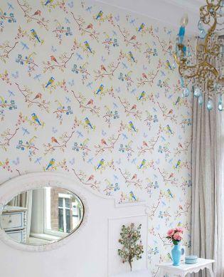 Wallpaper Audrey cream pearl lustre Room View