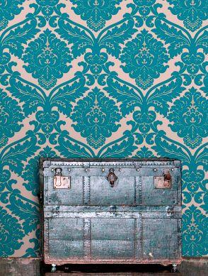 Papel de parede Samanta azul turquesa Ver quarto