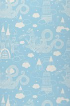 Wallpaper Drakhimlen Hand printed look Matt Dragons Castle Stars Clouds Light blue White
