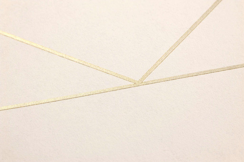 Papel pintado lines blanco crema oro brillante for Papel pintado de los 70