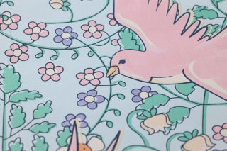 Wallpaper Marianella Matt Leaves Flowers Birds Pastel light blue Blue-purple shimmer Light ivory Pastel green Pastel rose