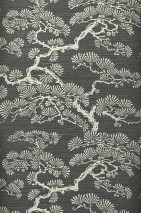 Wallpaper Komolung Shimmering pattern Matt base surface Stylised trees Stylised leaves Dark grey Grey white shimmer