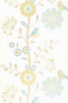 Papel pintado Lorena Mate Flores Pájaros Blanco crema Marrón beige pálido Verde amarillento Azul claro