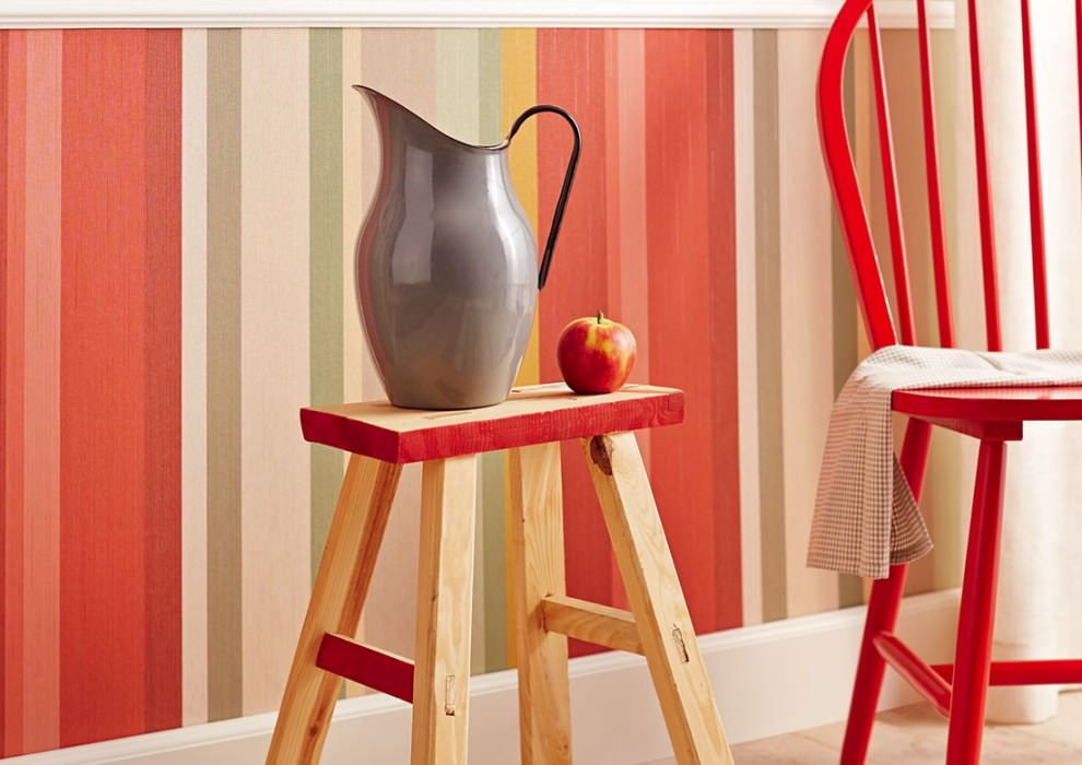 Wallpaper Keila Matt Looks like textile Stripes Brown white Grey beige Green Ochre  Red