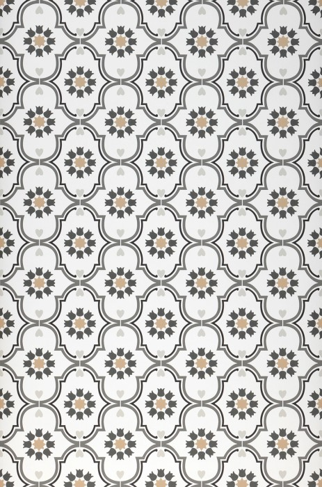 Wallpaper Efigenia Matt Baroque elements Blossoms Hearts Stars White Beige Dark grey Grey Light grey Black