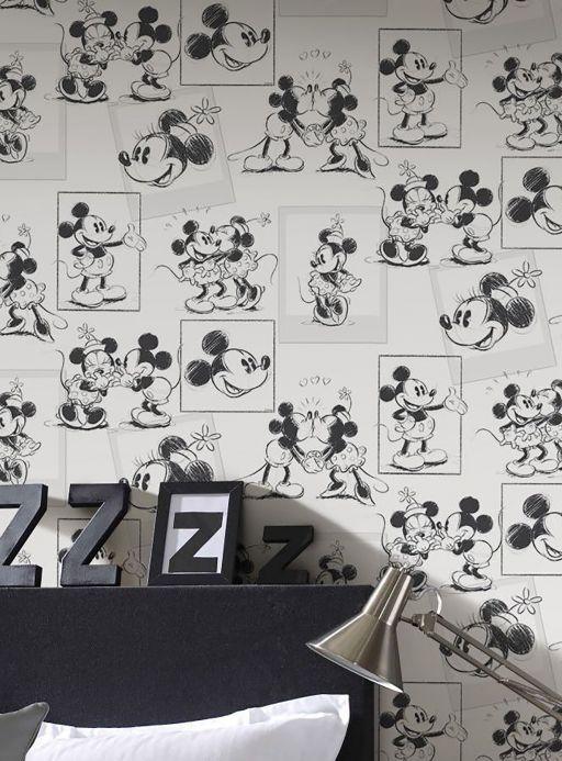 Papel de parede vintage Papel de parede Mickey Sketches branco Ver ambiente